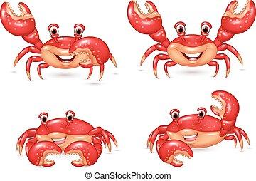 glücklich, satz, karikatur, sammlung, krabbe