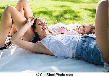 glücklich, schöne frau, entspannend, auf, decke, park, mit, sie, freund