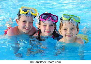 glücklich, schwimmer