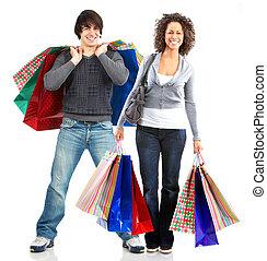 glücklich, shoppen, leute