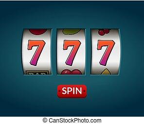 glücklich sieben, 777, steckplatz, machine., kasino, las vegas, game., gluecksspiel, vermögen, chance., gewinnen, jackpot, geld