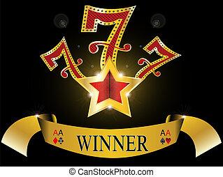 glücklich sieben, mit, gold stern, 777