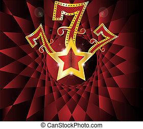 glücklich sieben, mit, gold stern