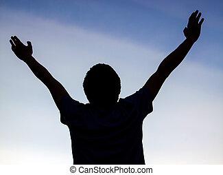 glücklich, silhouette, mann