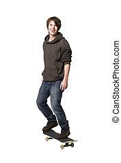 glücklich, skateboard, mann
