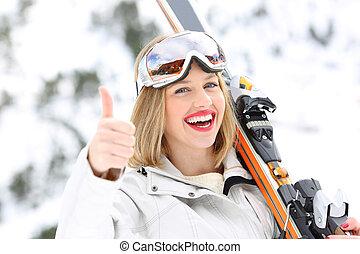 glücklich, skier, mit, daumen hoch, in, a, steigung