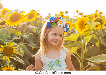 glücklich, sonnenblume, m�dchen