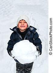 glücklich, spielende , schnee, kind, junger