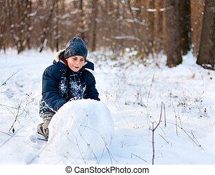 glücklich, spielende , schnee, kind, wald