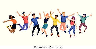 glücklich, springende , junger, sammlung, leute