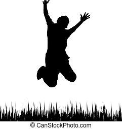 glücklich, springende , mann