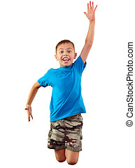 glücklich, springende , trainieren, kind