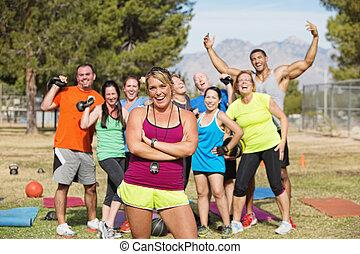 glücklich, stiefel, lager, fitness, gruppe