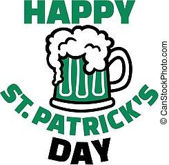 glücklich, str., patricks, tag, mit, grünes bier, in, becher