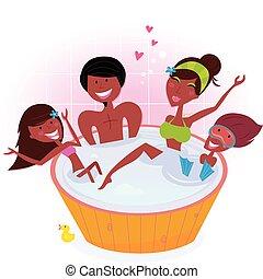 glücklich, strudel, familie, bad