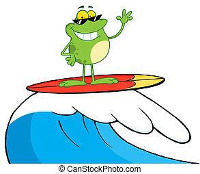 glücklich, surfen, frosch, während