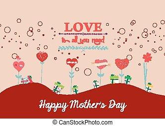 glücklich, tag, hintergrund, mütter