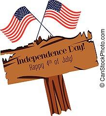 glücklich, tag, unabhängigkeit, zeichen