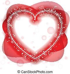 glücklich, tag valentines, neon, herz