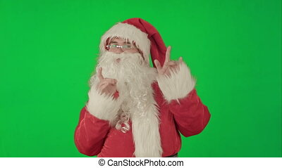 glücklich, tanzen, weihnachtsmann, auf, a, grün, schirm, chrom, schlüssel