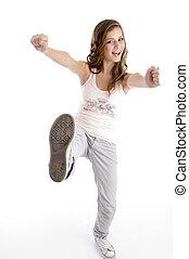 glücklich, tanzende frau