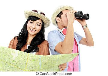 glücklich, teenager, tourist