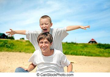 glücklich, teenager, und, kind