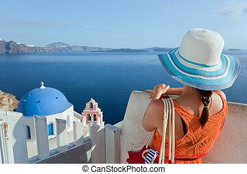 glücklich, tourist, frau, auf, santorini insel, greece., reise