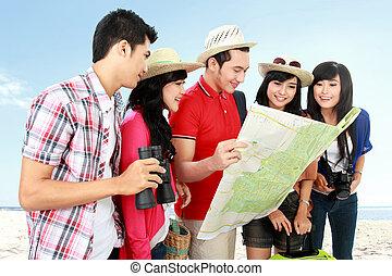 glücklich, touristen, teenager