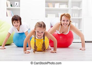 glücklich, trainieren, leute