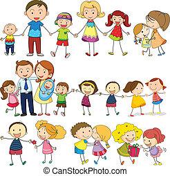 glücklich, und, liebende familie