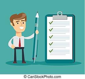 glücklich, unternehmerin, besitz kugelschreibers, und, anschauen, vollendet, checklist.