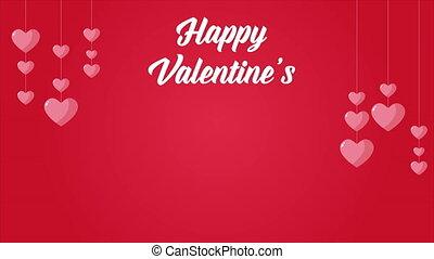 glücklich, valentine, mit, animation, liebe