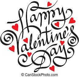 glücklich, valentine, tag, hand, beschriftung