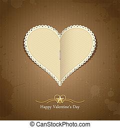 glücklich, valentine, tag, papier, klassisch