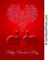 glücklich, valentinestag, geißblatt, rotes , kaninchenkaninchen