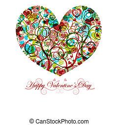 glücklich, valentinestag, herz, mit, bunte, wirbelt