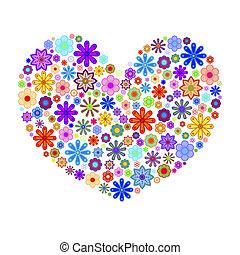 glücklich, valentinestag, herz, mit, farbenfreudige blumen