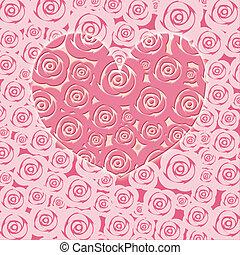 glücklich, valentinestag, herz, mit, rosafarbene rosen