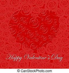 glücklich, valentinestag, herz, mit, rote rosen