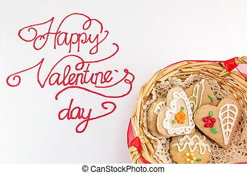 glücklich, valentinestag, kalligraphie, karte, mit, pl�tzchen