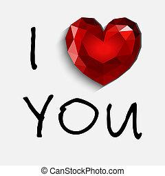 glücklich, valentinestag, karte, mit, heart., abbildung