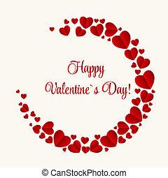 glücklich, valentinestag, karte, mit, heart., vektor,...