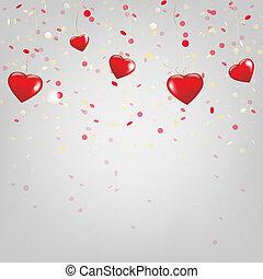 glücklich, valentinestag, karte, mit, rotes , herzen