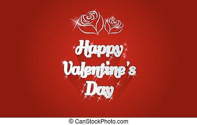 glücklich, valentinestag, karte, mit, schatten, rosen, und, anzünden effekt