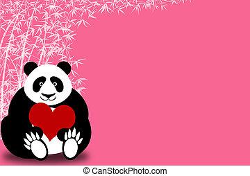 glücklich, valentinestag, panda, besitz, herz