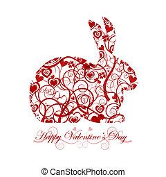 glücklich, valentinestag, rotes , kaninchenkaninchen