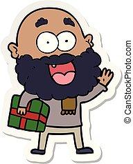 glücklich, verrückt, geschenk, aufkleber, karikatur, unter, ...