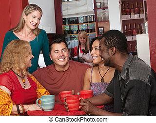 glücklich, verschieden, gruppe erwachsener