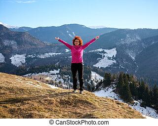 glücklich, wanderer, bergen